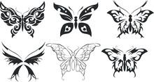 Set Of Six Stencils Butterfly ...
