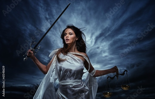 Leinwand Poster Femida, Goddess of Justice, with scales and sword