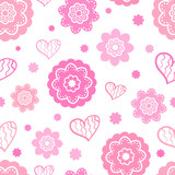 Romantic seamless pattern (tiling). Vector illustration