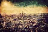 Fototapeta Paryż - Paris, France at sunset. Aerial view on landmarks. Vintage