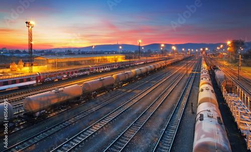 Cargo freight train railroad station Canvas Print