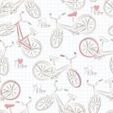 Bezszwowy wzór z retro bicyklem. Wektor - 61569093