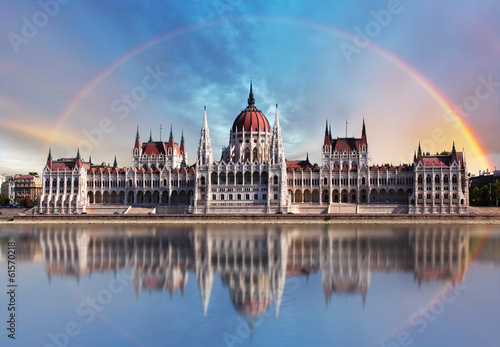 Photo  Budapest - Parliament.with reflection in Danube
