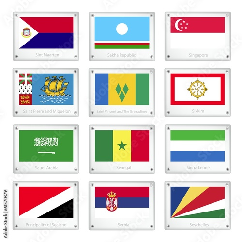 Photo  The Countries Flags on Metal Texture Plates