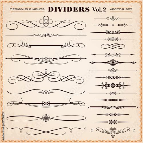 Fototapeta Calligraphic Design Elements, Dividers and Dashes obraz na płótnie