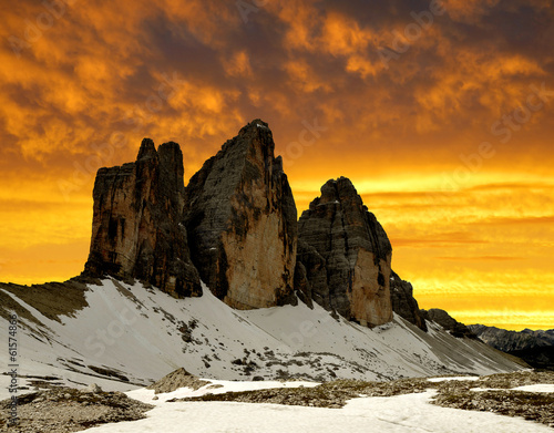Wall Murals Tre cime di Lavaredo in the sunset , Dolomite Alps, Italy