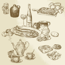 Collection Of Food - Hand Draw...