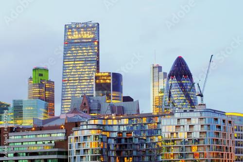 London skyscrapers at night, Britain, UK Canvas Print