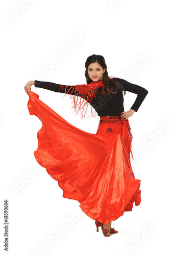 Cadres-photo bureau Carnaval young woman dancing flamenco. Isolated on white