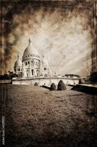 Aged vintage retro picture of Sacre Coeur Cathedral in Paris Canvas