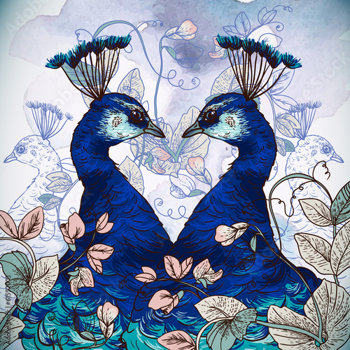 Floral Background with Peacock - 61592003