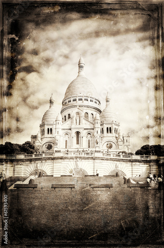 Fényképezés  Aged vintage retro picture of Sacre Coeur Cathedral in Paris