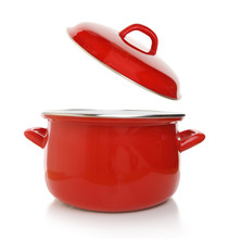 Red Cooking Pot Isolated On Wh...