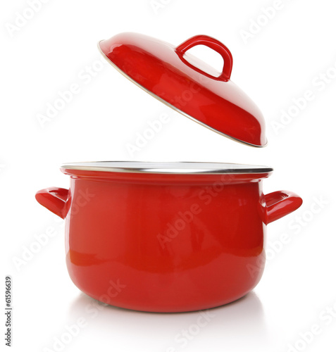 Red cooking pot isolated on white background