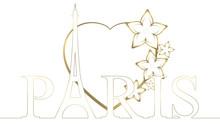 Eiffel Heart - Gold & White