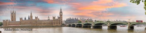London at dusk. Autumn sunset over Westminster Bridge