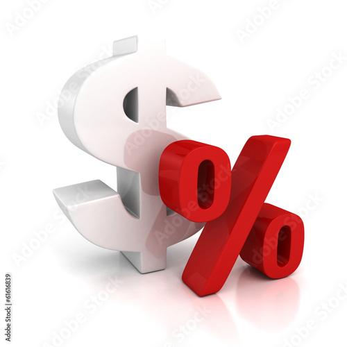 Fotografía  3d big dollar currency symbol and red percent sign