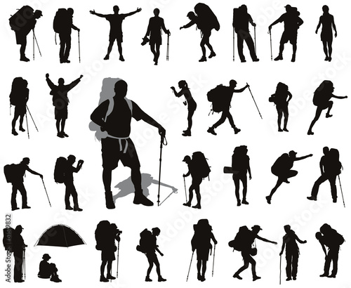 People with backpack detailed vector silhouettes set. EPS 8 Wall mural