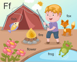 Alphabet.F letter.fish,fire,fl ower,frog,fox.