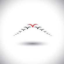 Leadership Concept Vector - Birds Flying Forming An Arrow