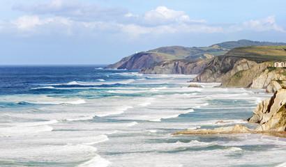 basque country coastline with rough sea