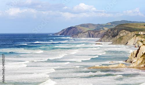 Poster Cote basque country coastline with rough sea