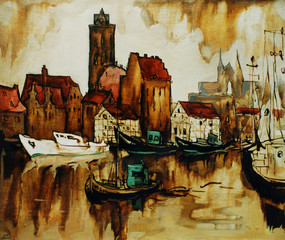 Fototapetaold harbour in the german city wismar, painting by oil on canvas