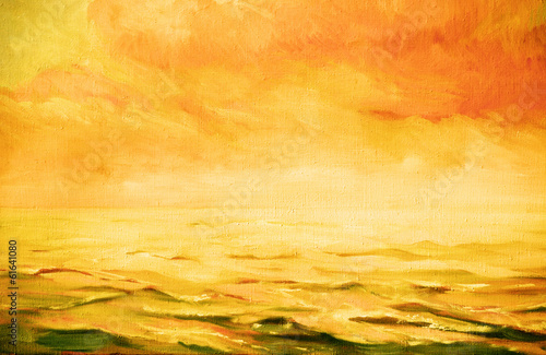 Photo  sea landscape,  illustration, painting by oil on a canvas