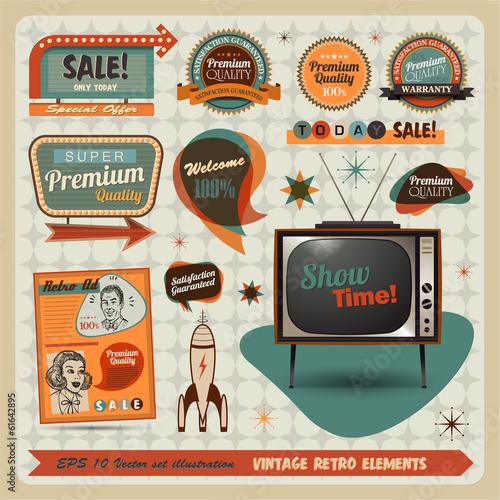 Vintage And Retro Design Elements illustration Canvas Print