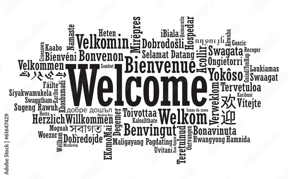 Fotografia Welcome Word Cloud illustration in vector format