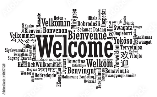 Photo Welcome Word Cloud illustration in vector format
