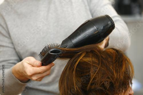 Fotografie, Obraz  stylist drying woman hair