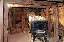 Old Cart Load Of Minerals In A Mine