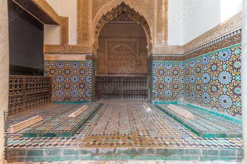 Photo Stands Morocco Saadian Tombs in Marrakesh, Morocco