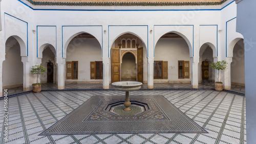 Foto op Plexiglas Marokko Al Bahia Palace, courtyard, in Marrakesh, Morocco