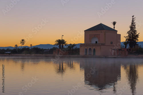 Recess Fitting Morocco Menara Gardens in Marrakesh at dawn