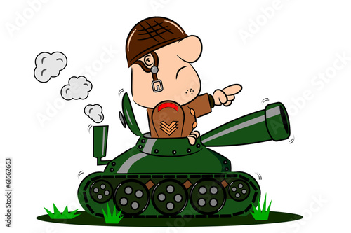 Leinwand Poster A cartoon army soldier in the turret of a tank