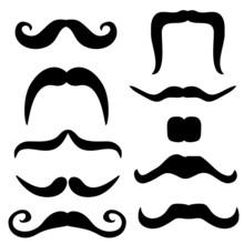 Mustache Set Black Vector Illustration