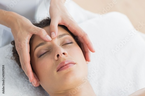 Beautiful woman having head massage Wallpaper Mural
