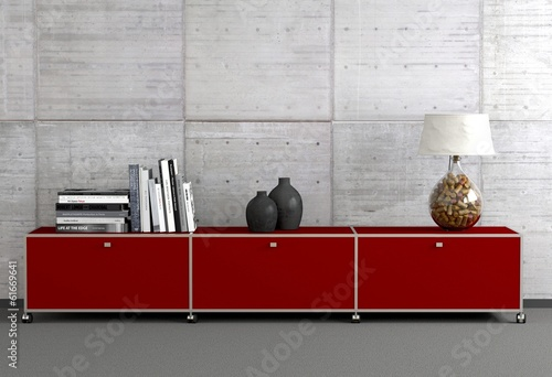 Rotes Sideboard Canvas-taulu