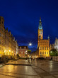 Town Hall at night in Gdansk, Poland.