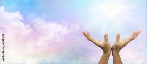 Photo  Soft Rainbow Sunburst Healing Banner