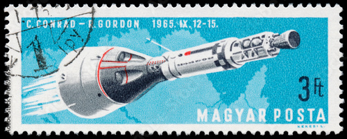 Deurstickers Nasa HUNGARY - CIRCA 1966: stamp printed by Hungary, shows Manned Spa