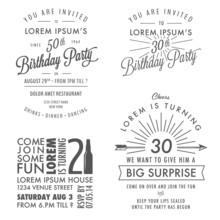 Vintage Adult Birthday Invitation Design Elements
