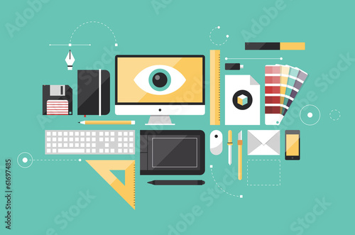Fotografie, Obraz  Graphic designer workplace flat illustration