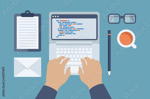 Fotografía  Web and HTML programming flat illustration