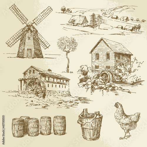 Photo Watermill and windmill - hand drawn collection