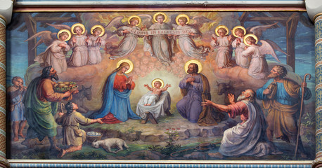Fototapeta Religia i Kultura Vienna - fresco of Nativity scene in Carmelites church