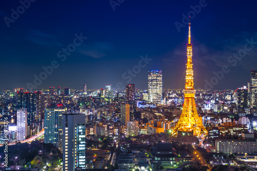 Foto auf AluDibond Tokio Tokyo Cityscape at Tokyo Tower
