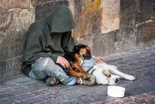 Beggar With Two Dogs Near Char...